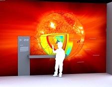 Exponát Řez Sluncem v Techmanii.